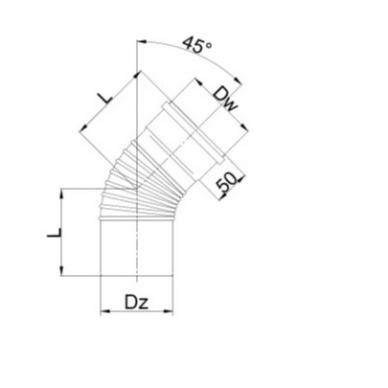 Pajungimo alkūnė 45° 2